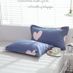 绵庭2019新品全棉12868第一批单品枕套一对桃乐丝之吻蓝