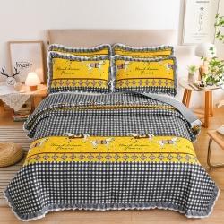 (总)岚吉家纺 2021新款全棉花边床盖3件套