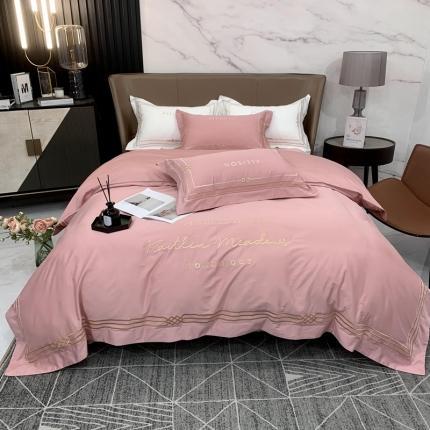 玉皇阁 2021新款60s长绒棉丹麦系列四件套 粉色