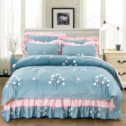爱妮玖玖 套件3-1:全棉春天款单层床裙配双针被套四件套