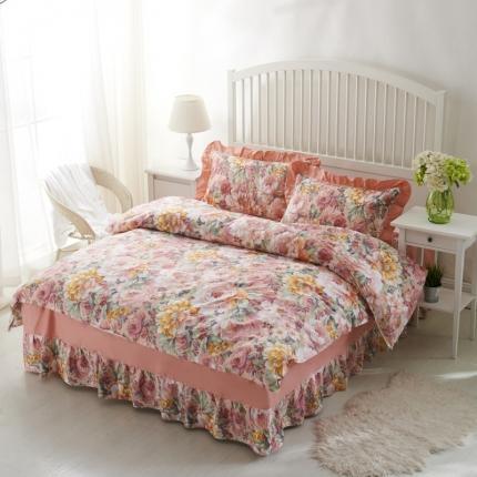 爱妮玖玖套件1-2 印花夹棉花卉条格床罩四件套(不含包装)