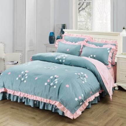 爱妮玖玖套件3-3全棉春天款单层床裙配花边被套四件套不含包装