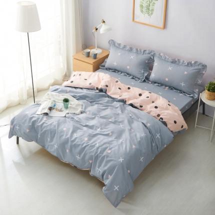 :爱妮玖玖 套件19全棉小清新多规格直角床单配花边枕套件
