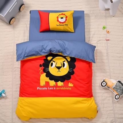美真宝贝2021幼儿园13374丝光棉大版三件套 淘气小狮子
