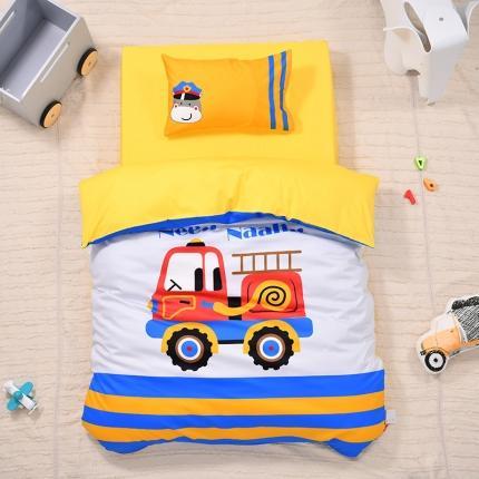 美真宝贝2021幼儿园13374丝光棉大版三件套 消防车