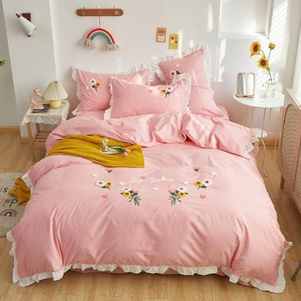 米亚2021新款公主风荷叶边全棉四件套-花儿多多 粉色