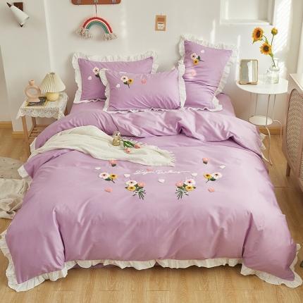 米亚2021新款公主风荷叶边全棉四件套-花儿多多 紫色