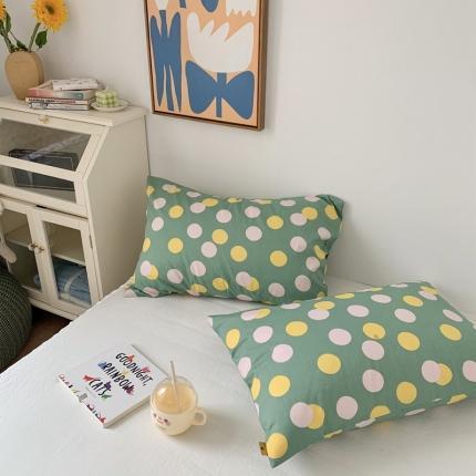 四方米 2020新款40支13372全棉单品枕套一对 啵啵绿