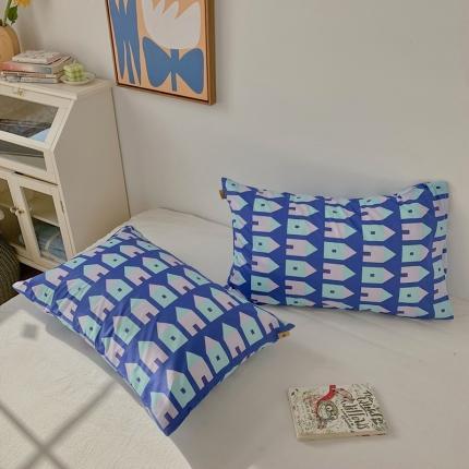 四方米 2020新款40支13372全棉单品枕套一对华尔街蓝
