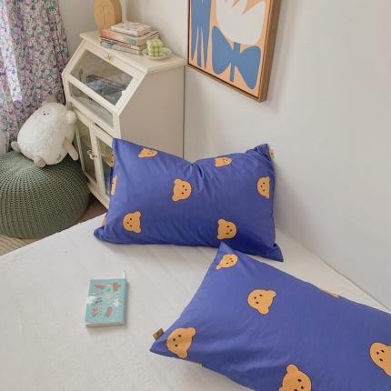 四方米 2020新款40支13372全棉单品枕套一对摩卡熊蓝