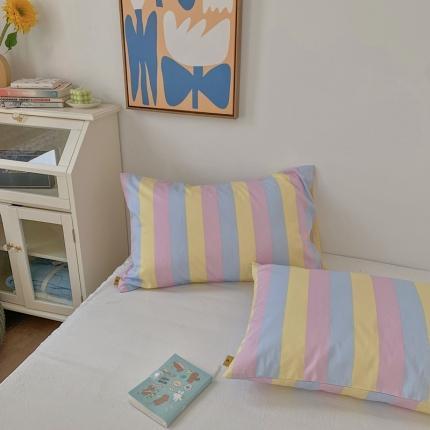 四方米 2020新款40支13372全棉单品枕套一对 三色条