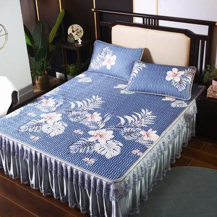 莱轩席业 2021新款夹棉款床裙冰丝席凉席 秘密花园