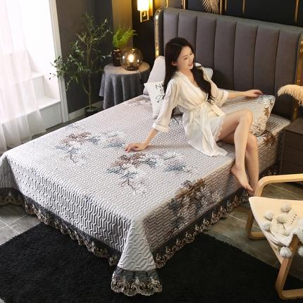 莱轩席业 2021新款蕾丝床盖凉席三件套 花样年华