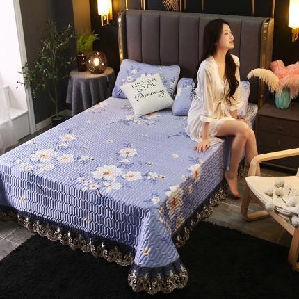 莱轩席业 2021新款蕾丝床盖凉席三件套 浪漫花都