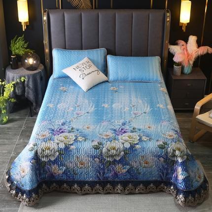 莱轩席业 2021新款蕾丝床盖凉席三件套 幽香丽影