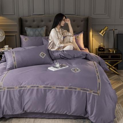 意尚风情 2021新款天丝提花蕾丝刺绣四件套 香芋紫