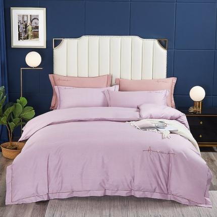 丹尔妮 2021新款40s长绒棉绣花四件套 卡洛斯-香芋紫