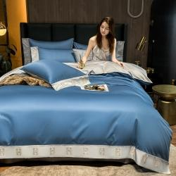 (总)蓝米卡夫 新款高档酒店款全棉贡缎长绒棉刺绣四件套-艾迪