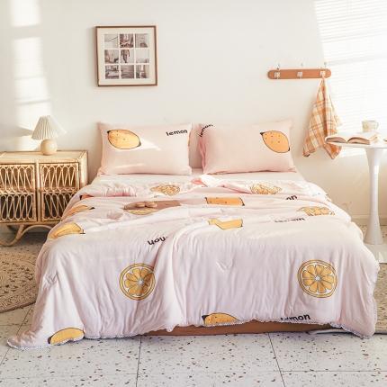 裁空间 2021新款可水洗针织棉夏被被芯空调被夏凉被 柠檬