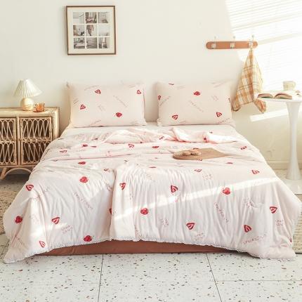 裁空间 2021新款可水洗针织棉夏被被芯空调被夏凉被 小草莓