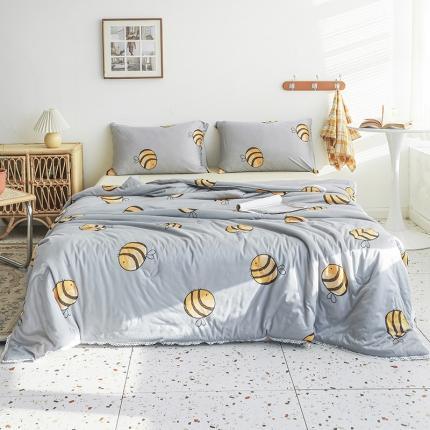 裁空间 2021新款可水洗针织棉夏被被芯空调被夏凉被 小蜜蜂