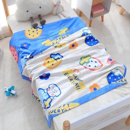 美真宝贝新款儿童空调棉幼儿园夏被全棉夏被宝宝夏被水果乐园蓝