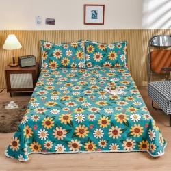樱桃家居 纯棉老粗布三件套床单粗布凉席全棉被单 元气之夏