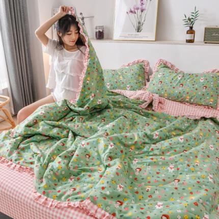 心悦2021清新小碎花公主范纯棉夏被四件套 童年-绿