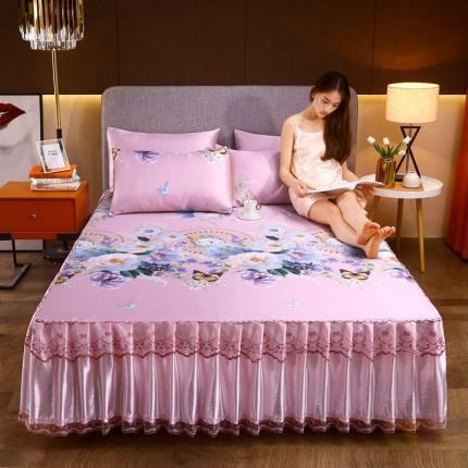 莱轩 2021新款冰丝床裙凉席三件套满园春色粉