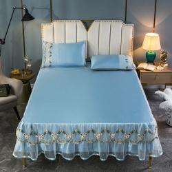 (总)亮美席业 2021新款400D纯色水洗冰丝床裙款