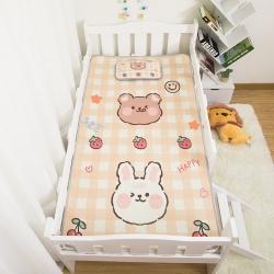 欣品希希 2021新款幼儿园儿童冰丝凉席三件套 格子兔熊
