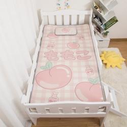 欣品希希 2021新款幼儿园儿童冰丝凉席三件套 桃子
