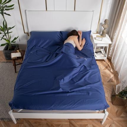 乐童家纺 2021新款60支长绒棉隔脏睡袋-宝石蓝