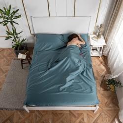乐童家纺 2021新款60支长绒棉隔脏睡袋-墨绿