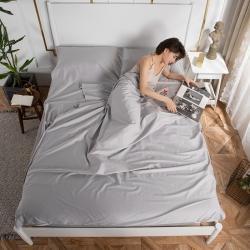 乐童家纺 2021新款60支长绒棉隔脏睡袋-太空灰