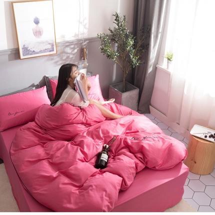 乐童家纺 2021新款13372全棉喷气纯色刺绣四件套-青春之恋 玫瑰红