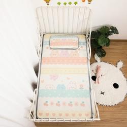 欣品希 2021新款600D儿童冰丝凉席两件套 彩条熊