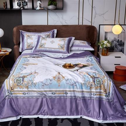 平头哥 2021新款凉感丝夏被四件套 方形花紫