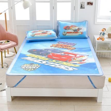 童爱 迪士尼数码印花冰丝席三件套卡通凉席单双人空凋软席 775