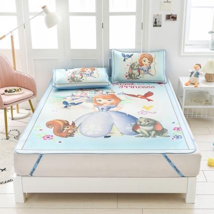 童爱 迪士尼数码印花冰丝席三件套卡通凉席单双人空凋软席 1223