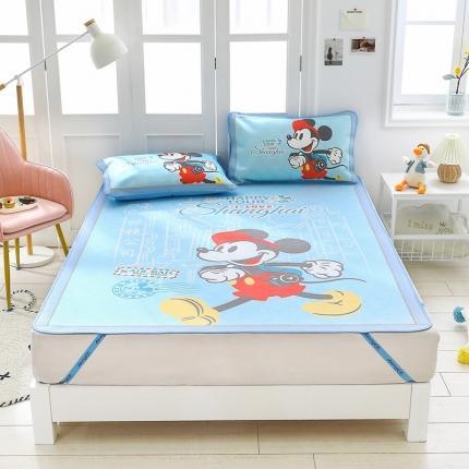 童爱 迪士尼数码印花冰丝席三件套卡通凉席单双人空凋软席 1305