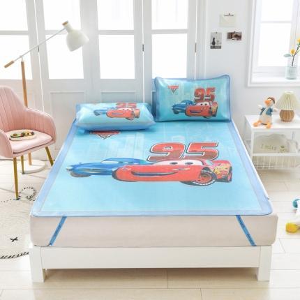 童爱 迪士尼数码印花冰丝席三件套卡通凉席单双人空凋软席 汽车蓝