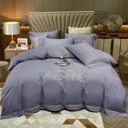 2021轻奢酒店风全棉长绒棉刺绣四件套 烟灰紫