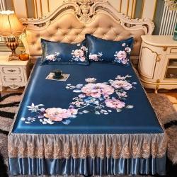 (汇总)美阁 2021新款大版花蕾丝床裙凉席冰丝席凉席三件套
