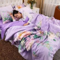 总诗淇新款莱卡天丝夏凉被四件套冰丝床单枕套夏被夏天被子三件套