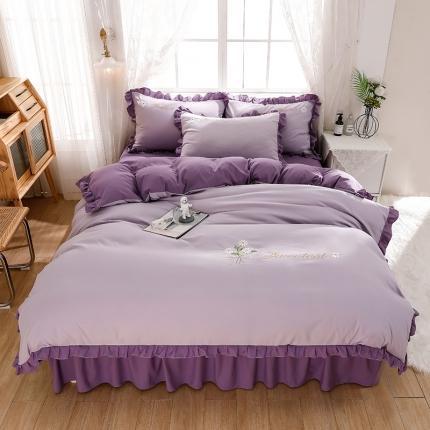 金莎浪 2021新款香颂款水洗棉绣花四件套 香颂-仙女紫