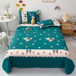萌宝老粗布毛绒 纯棉老粗布三件套床单粗布凉席全棉被单甜甜草莓