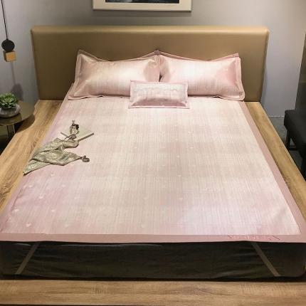米亚 2021新款绣花肌理纹床席 爱心-粉色