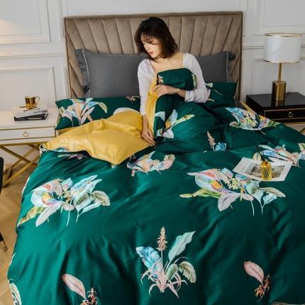 乐童 2021新款60支长绒棉数码大阪花卉四件套 醉花都绿