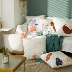 北欧现代风情绪碎片系棉麻加厚抱枕 客厅沙发靠垫 床头靠垫含芯